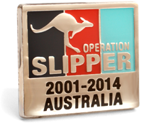 The rectangular Operation Pin is showing the tri-service colours of navy blue, red and light blue in vertical stripes set in a Silver plate face with a leaping kangaroo in Silver and words Operation Slipper printed over. The word Australia sits at the bottom of the lapel pin face.